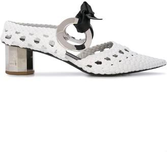 Proenza Schouler Woven Grommet Block Heel Mules