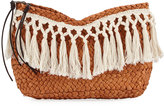 San Diego Hat Company Fringed Woven Two-Zip Clutch, Neutral Pattern