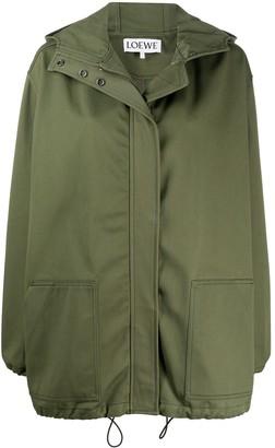 Loewe Hooded Zip-Up Parka Coat