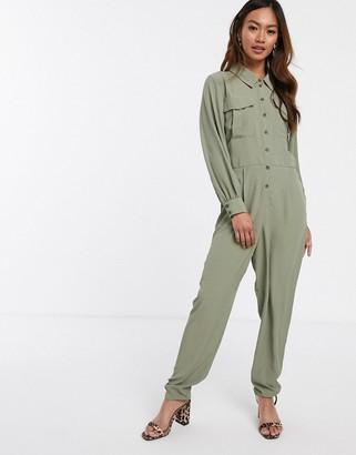Asos Design DESIGN long sleeve military shirt jumpsuit-Green