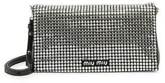 Miu Miu Starlight Embellished Leather Shoulder Bag