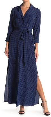 L'Agence Cameron Houndstooth Silk Maxi Shirt Dress