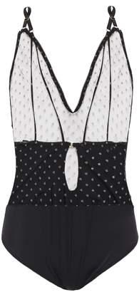 Le Petit Trou Anabelle Metallic-trimmed Flocked Tulle-paneled Jersey Bodysuit