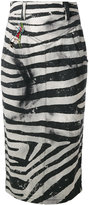 Marc Jacobs zebra embroidered pencil skirt - women - Cotton - 28
