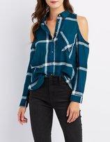 Charlotte Russe Cold Shoulder Pocket Button-Up Top