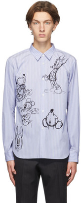 Comme des Garçons Homme Deux Blue and White Striped Mickey Mouse Shirt