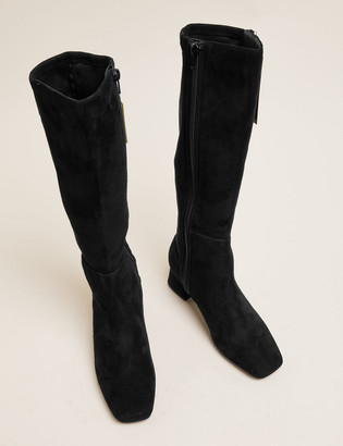 Marks and Spencer Suede Block Heel Square Toe Knee High Boots