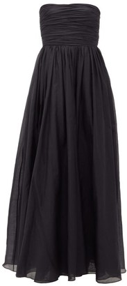 Brock Collection Gathered-bodice Cotton-blend Voile Gown - Black