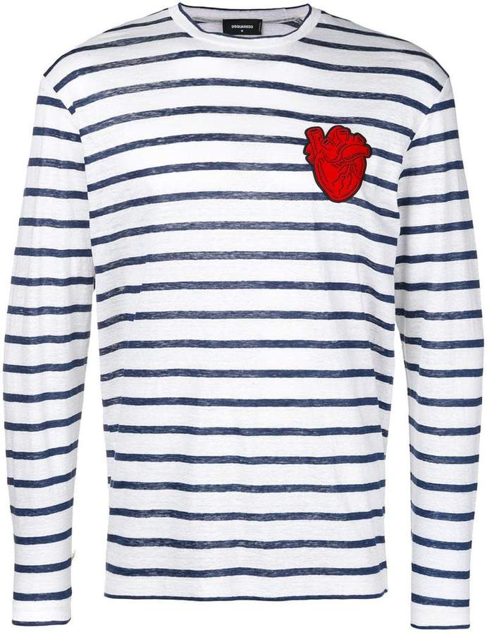 DSQUARED2 striped shirt with heart patch appliqué