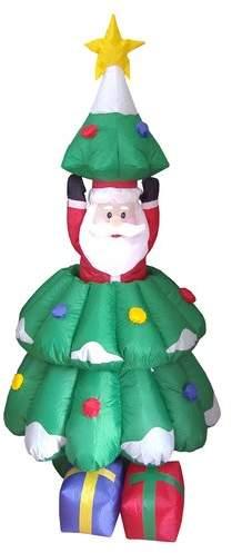 Three Posts Christmas Inflatables Animated Santa and Tree Decoration
