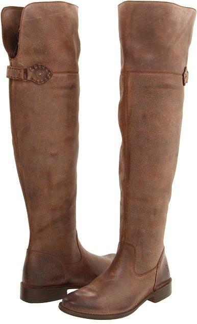 Frye Shirley Over-The-Knee Riding (Dark Brown Waxy Suede) - Footwear