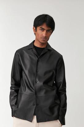 Cos Camp Collar Leather Overshirt