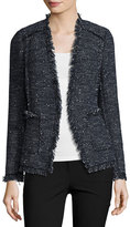 Rebecca Taylor Sparkle Tweed Open-Front Blazer