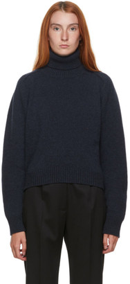 Maison Margiela Navy Alpaca Stitched Turtleneck