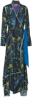 F.R.S For Restless Sleepers Hydros Printed Silk-satin Maxi Wrap Dress