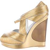 Saint Laurent Metallic Wedge Sandals
