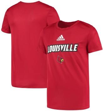 adidas Youth Red Louisville Cardinals Wordmark AEROREADY Performance T-Shirt