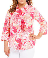 Allison Daley Plus 3/4 Sleeve Button Front Printed Blouse