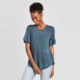 Knox Rose™ Women's Ruffle Short Sleeve Scoop Neck T-Shirt - Knox RoseTM