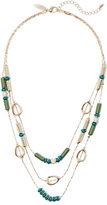 New York & Co. Triple-Row Beaded Goldtone Necklace