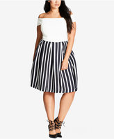 City Chic Trendy Plus Size Striped Pleated Skirt