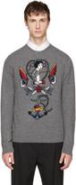 Valentino Grey Daisy Tattoo Sweater