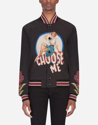 Dolce & Gabbana Nylon Coat With Pin-Up Print