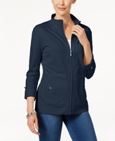 Karen Scott Petite Roll-Tab Jacket, Created for Macy's