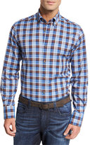 Neiman Marcus Plaid Cotton Sport Shirt, Blue/Brown