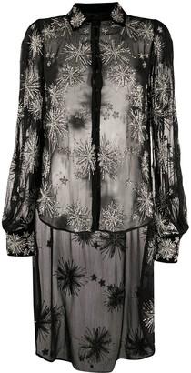 retrofete sheer oversized embroidered shirt