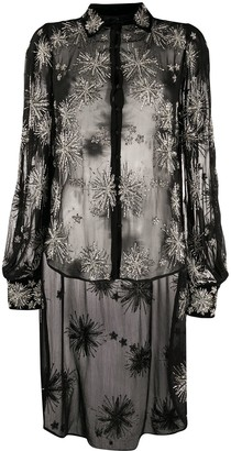 retrofete Sheer Oversized Embroidered Shirt
