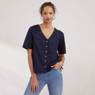 The White Company Cotton Button Front Dobby Blouse, Navy, 6
