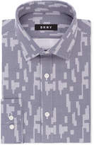 DKNY Men's Slim-Fit Navy White Print Dress Shirt