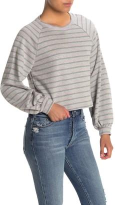 Lush Striped Balloon Sleeve Crop Sweatshirt