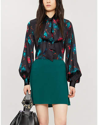 Ganni Floral-print loose-fit silk-satin blouse