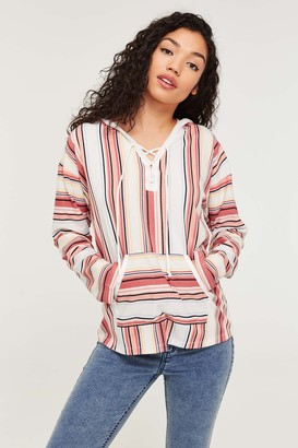 Ardene Striped Laced Hoodie
