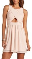 Charlotte Russe Mesh Cut-Out Skater Dress