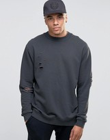 Jack and Jones Crew Neck Sweat with Drop Shoulder and Distressed Detail