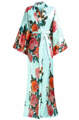 Coucoland Kimono Dressing Gown Peacock Kimono Robe for Women Wedding Girl's Bonding Party Pyjamas 135cm Long (WineRed)