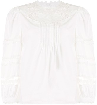 Veronica Beard Lace-Trimmed Shirt