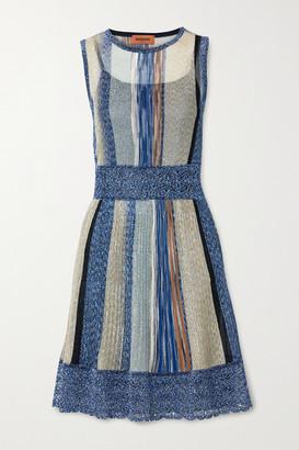 Missoni Striped Metallic Crochet-knit Mini Dress - Blue