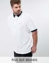 Tommy Hilfiger PLUS Contrast Cuff Polo Logo Collar Reverse Slim Fit in White