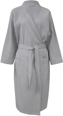 Wallace Cotton Clooney Waffle Robe Pale Grey