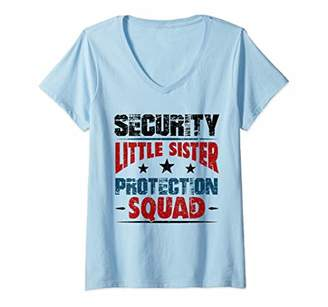 Womens Security Little Sister Protection Squad - Brother V-Neck T-Shirt