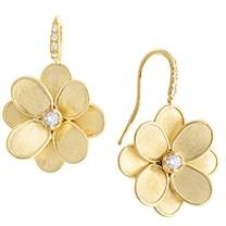 Marco Bicego 18K Yellow Gold Petali Diamond Flower Drop Earrings
