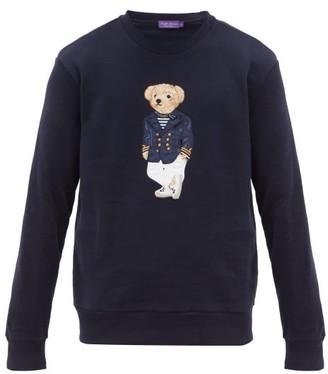 Ralph Lauren Purple Label Polo Bear-embroidered Cotton-blend Sweater - Mens - Navy
