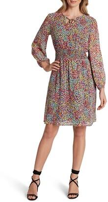 Tahari Dot Print Long Sleeve Smocked Chiffon Dress
