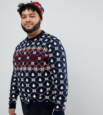 ASOS DESIGN Plus Holidays sweater with festive design in navy