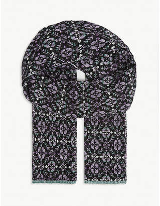 Maje Patterned metallic woven scarf