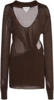 Bottega Veneta Cutout Ribbed Silk Sweater